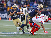 Annapolis, MD - November 11, 2017: Navy Midshipmen running back Malcolm Perry (10) gets a block fromNavy Midshipmen fullback Chris High (33) during the game between SMU and Navy at  Navy-Marine Corps Memorial Stadium in Annapolis, MD.   (Photo by Elliott Brown/Media Images International)