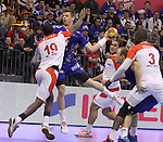 12.01.2013 Granollers, Spain. IHF men's world championship, prelimanary round. Picture show Xavier Barachet  in action during game between France vs Tunisia at Palau d'esports de Granollers