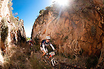 Riders make their way over the old rialway tracks outside Ceres during stage one of the 2010 Absa Cape Epic Mountain Bike stage race from Diemersfontein Wine estate, Wellington, to Ceres in the Western Cape, South Africa on the 21 March 2010.Photo by Karin Schermbrucker/SPORTZPICS