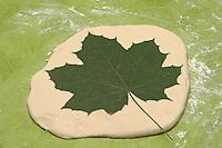 Abdruck von einem Ahornblatt auf den Salzteig