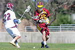 Los Angeles, CA 02/20/10 - Will Indvik (USC # 35) and Nolan Smith (LMU # 22) in action during the USC-Loyola Marymount University MCLA/SLC divisional game at Leavey Field (LMU).  LMU defeated USC 10-7.