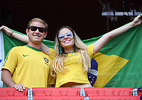 20190618 - VALENCIENNES , FRANCE : illustration picture shows the fans during the female soccer game between Italy  and Brazil  , the third game for both teams in group C during the FIFA Women's  World Championship in France 2019, Tuesday 18 th June 2019 at the Stade du Hainaut Stadium in Valenciennes , France .  PHOTO SPORTPIX.BE | DIRK VUYLSTEKE