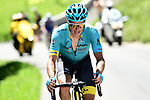 Jakob Fuglsang (DEN) Astana Pro Team out front with 5.5km to go during Stage 8 of the Criterium du Dauphine 2017, running 115km from Albertville to Plateau de Solaison, France. 11th June 2017. <br /> Picture: ASO/A.Broadway | Cyclefile<br /> <br /> <br /> All photos usage must carry mandatory copyright credit (&copy; Cyclefile | ASO/A.Broadway)