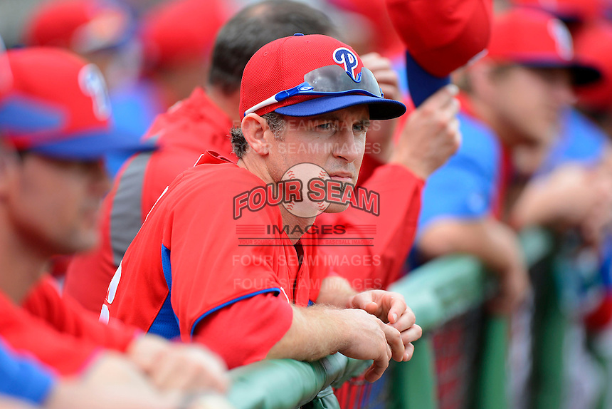 Philadelphia Phillies second baseman Chase Utley #26 before a Spring Training game against the New York Yankees at Bright House Field on February 26, 2013 in Clearwater, Florida.  Philadelphia defeated New York 4-3.  (Mike Janes/Four Seam Images)