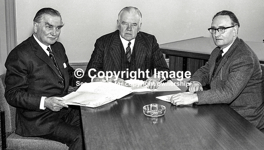 The Cameron Commission into the N Ireland disturbances and its causes meet under the chairmanship of Lord Cameron (centre). The other member of the commission are Professor Sir John Biggart, left, and James Joseph Campbell. 196904010143, 143/69..Copyright Image from Victor Patterson, 54 Dorchester Park, Belfast, UK, BT9 6RJ..Tel: +44 28 9066 1296.Mob: +44 7802 353836.Voicemail +44 20 8816 7153.Skype: victorpattersonbelfast.Email: victorpatterson@me.com.Email: victorpatterson@ireland.com (back-up)..IMPORTANT: If you wish to use this image or any other of my images please go to www.victorpatterson.com and click on the Terms & Conditions. Then contact me by email or phone with the reference number(s) of the image(s) concerned.