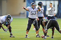 12 August 2011:  FIU's Giancarlo Revilla (53) signals to teammates during a scrimmage held as part of the FIU 2011 Panther Preview at University Park Stadium in Miami, Florida.