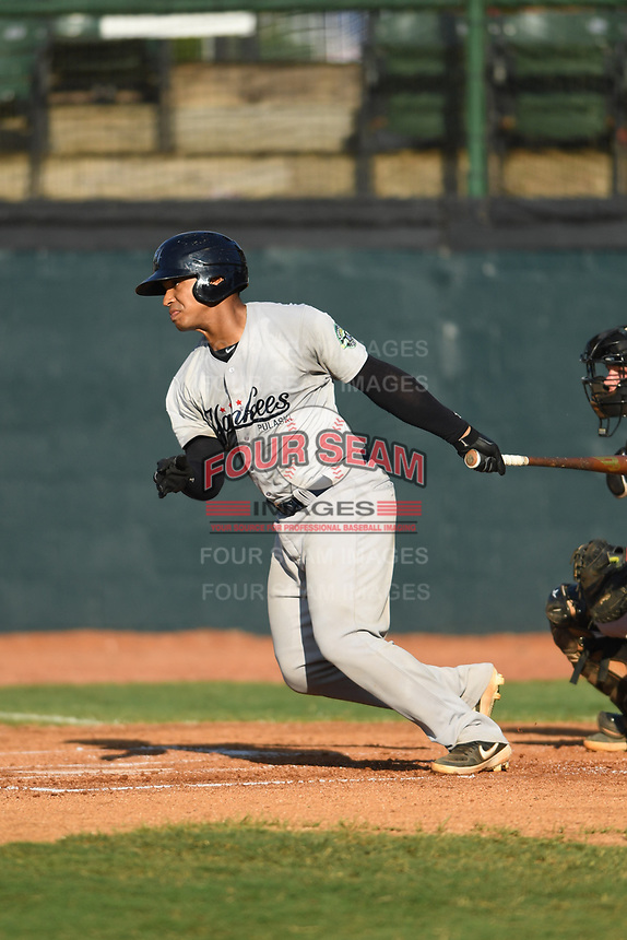 Pulaski Yankees Saul Torres (25) follows through on his swing against the Bristol Pirates at Boyce Cox Field on July 8, 2019 in Bristol, Virginia. The Yankees defeated the Pirates 5-0. (Tracy Proffitt/Four Seam Images)