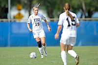 2 October 2011:  FIU midfielder Sara Stewart (19) looks to pass the ball in the second half as the FIU Golden Panthers defeated the University of South Alabama Jaguars, 2-0, at University Park Stadium in Miami, Florida.
