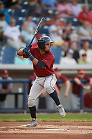 Mahoning Valley Scrappers second baseman Jose Fermin (12) at bat during a game against the Williamsport Crosscutters on August 28, 2018 at BB&T Ballpark in Williamsport, Pennsylvania.  Williamsport defeated Mahoning Valley 8-0.  (Mike Janes/Four Seam Images)
