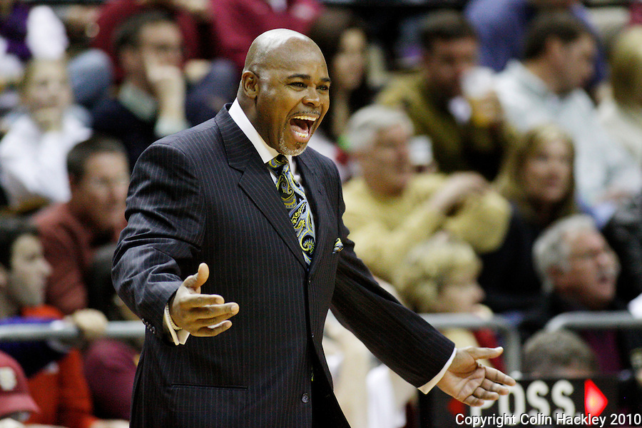 TALLAHASSEE, FL 10-FSU-NCSTBB10 CH01-N.C. State Head Coach Sidney Lowe reacts during first half action against Florida State Tuesday at the Donald L. Tucker Center in Tallahassee...COLIN HACKLEY PHOTO