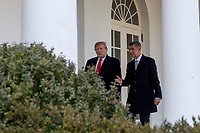 United States President Donald J. Trump poses for a photo with the Prime Minister of the Czech Republic Andrej Babi as they prepare to enter the Oval Office ahead of a bilateral meeting at the White House in Washington, D.C. on March 7, 2019. Photo Credit: Alex Edelman/CNP/AdMEdia