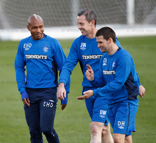 El Hadji Diouf, David Weir and David Healy all laughing together at training