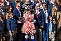 ARCADIA, CA  APRIL 7: #6 Justify, ridden by Mike Smith, in the winners circle after winning the Santa Anita Derby (Grade l) on April 7, 2018, at Santa Anita Park in Arcadia, Ca.  (Photo by Casey Phillips/ Eclipse Sportswire/ Getty Images)