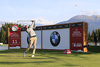 Javier Ballesteros (ESP) tees off the 11th tee during Thursday's Round 1 of the 2017 Omega European Masters held at Golf Club Crans-Sur-Sierre, Crans Montana, Switzerland. 7th September 2017.<br /> Picture: Eoin Clarke | Golffile<br /> <br /> <br /> All photos usage must carry mandatory copyright credit (&copy; Golffile | Eoin Clarke)