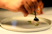 "Modena, 23 February 2017 – A chef prepares the ""An Eel Swimming Up the Po River"" dish at a lunch service at Osteria Francescana, Modena, Italy. Photo Sydney Low"