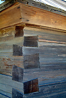 A closeup of the mortise and tenon heavy timber joint construction  in the entrance shack at Fort Ross, California