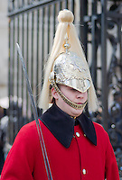 Horse guard outside Horse Guards Parade, London, England