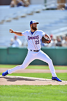 Tennessee Smokies starting pitcher Trevor Clifton (29) throws a pitch during a game against the Jackson Generals at Smokies Stadium on April 11, 2018 in Kodak, Tennessee. The Generals defeated the Smokies 6-4. (Tony Farlow/Four Seam Images)