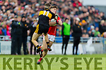 Michael Potts, Dr Crokes in action against Shane Cronin, East Kerry  during the Kerry County Senior Club Football Championship Final match between East Kerry and Dr. Crokes at Austin Stack Park in Tralee, Kerry.