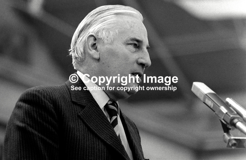 Peter Barry, TD, deputy leader, Fine Gael, Rep of Ireland, addresses his party's Ard Fheis (annual conference). 198102000065PB1..Copyright Image from Victor Patterson, 54 Dorchester Park, Belfast, United Kingdom, UK...For my Terms and Conditions of Use go to http://www.victorpatterson.com/Victor_Patterson/Terms_%26_Conditions.html