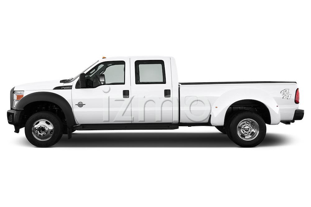 Driver side profile view of a 2013 Ford F-450 XLT Super Duty Crew Cab Truck.