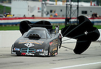 Sept. 1, 2012; Claremont, IN, USA: NHRA funny car driver Jon Capps during qualifying for the US Nationals at Lucas Oil Raceway. Mandatory Credit: Mark J. Rebilas-