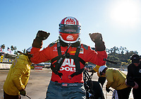 Feb 11, 2019; Pomona, CA, USA; NHRA top fuel driver Doug Kalitta celebrates after winning the Winternationals at Auto Club Raceway at Pomona. Mandatory Credit: Mark J. Rebilas-USA TODAY Sports