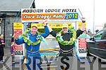 Tommy Collins,Abbeyfeale(Lt)celebrates with his navigator Tommy Commane,Tralee after they won the inaugural 2012 Dunlop National rally Championship historic class last Sunday outside the Auburn Hotel in Ennis,Co Clare..
