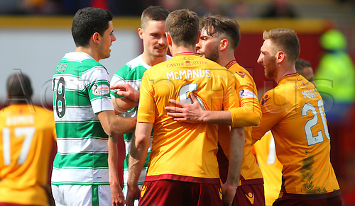 09.04.2016. Fir Park, Motherwell, Scotland. Scottish Football Premiership Motherwell versus Celtic. Stephen McManus squares up to Mikael Lustig