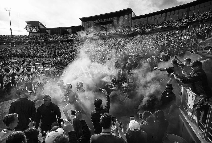 The Dawgs enter Husky Stadium.