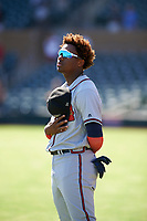 Peoria Javelinas outfielder Ronald Acuna (34), of the Atlanta Braves organization, during the National Anthem at an Arizona Fall League game against the Salt River Rafters on October 16, 2017 at Salt River Fields at Talking Stick in Scottsdale, Arizona.  Peoria defeated Salt River 6-2.  (Zachary Lucy/Four Seam Images)