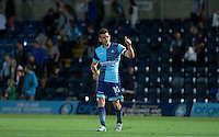 Matt Bloomfield of Wycombe Wanderers gives supporters a thumb up after making his 399 appearance for the club during the Sky Bet League 2 match between Wycombe Wanderers and Accrington Stanley at Adams Park, High Wycombe, England on 16 August 2016. Photo by Andy Rowland.