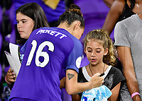Orlando, FL - Saturday July 07, 2018: Fans, Carson Pickett during the second half of a regular season National Women's Soccer League (NWSL) match between the Orlando Pride and the Washington Spirit at Orlando City Stadium. Orlando defeated Washington 2-1.