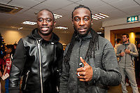 Tuesday  15 December 2015<br /> Pictured L-R: Modou Barrow and Marvin Emnes<br /> Re: Kids SCFC Christmas Party at the Liberty Stadium, Swansea