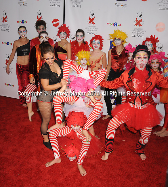 SANTA MONICA, CA. - October 30: Children's circus performers arrive at the 17th Annual Dream Halloween CAAF Benefit at Barker Hangar on October 30, 2010 in Santa Monica, California.