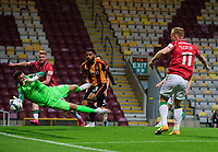 Lincoln City's Anthony Scully scores his side's second goal<br /> <br /> Photographer Chris Vaughan/CameraSport<br /> <br /> Carabao Cup Second Round Northern Section - Bradford City v Lincoln City - Tuesday 15th September 2020 - Valley Parade - Bradford<br />  <br /> World Copyright © 2020 CameraSport. All rights reserved. 43 Linden Ave. Countesthorpe. Leicester. England. LE8 5PG - Tel: +44 (0) 116 277 4147 - admin@camerasport.com - www.camerasport.com