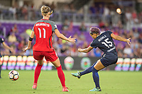 Orlando, FL - Saturday October 14, 2017: Dagný Brynjarsdóttir, Jaelene Hinkle during the NWSL Championship match between the North Carolina Courage and the Portland Thorns FC at Orlando City Stadium.