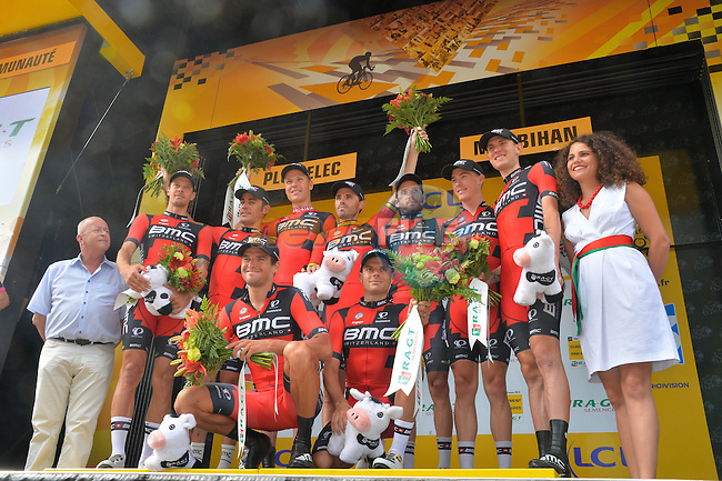 BMC Racing Team celebrate on the podium after winning the stage and taking over the team classification after Stage 9 of the 2015 Tour de France a team time trial running 28km from Vannes to Plumelec, France. 11th July 2015.<br /> Photo: ASO/B.Bade/Newsfile