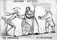 BNPS.co.uk (01202 558833)<br /> Pic: JanBondeson/BNPS<br /> <br /> In this satirical print Prime Minster William Pitt, alias the Monster, stabs Britannia with his rapier and dashes his diabolical nosegay into her face. The rival politician Charles James Fox is looking on aghast.<br /> <br /> A historian has shed new light on a little-known predator who terrorised London's streets a century before Jack the Ripper.<br /> <br /> The despicable culprit - dubbed The Monster - targeted well dressed young women by stabbing them in the thigh or buttocks.<br /> <br /> His reign of terror lasted for the first half of 1790, with him clocking up six victims on a single day. Other women were kicked from behind with spikes fastened to his knees, while some were stabbed in the nose by a spike hidden in a bouquet they were invited to smell.<br /> <br /> By the time The Monster was finally apprehended, his tally of traumatised victims was over 50. He was unmasked as disgraced Welsh ballet dancer Rhynwick Williams, who was kicked out of the theatre after committing theft and descended into the capital's seedy underworld.<br /> <br /> Historian Dr Jan Bondeson has written about him in his book 'The London Monster: Terror on the Streets', and also contributed to an upcoming film on the sinister episode.