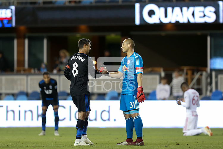 San Jose, CA - Saturday October 06, 2018: Chris Wondolowski, Luis Robles during a Major League Soccer (MLS) match between the San Jose Earthquakes and the New York Red Bulls at Avaya Stadium.