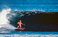 Jamie Brisick (USA) surfing St Leu on French island of Reunion in the Indian Ocean. Brisick was there for a Quiksilver surf trip. Circa 1989 Photo: joliphotos.com