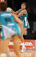 11.07.2010 Thunderbirds Mo'onia Gerrard in action during the ANZ Champs Final netball match between the Magic and Tunderbirds played at the Adelaide Entertainment Centre in Adelaide. ©MBPHOTO/Michael Bradley