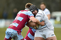 Ben Cooper of Bedford Blues is tackled by Rob Louw of Rotherham Titans. Greene King IPA Championship match, between Rotherham Titans and Bedford Blues on January 17, 2018 at Clifton Lane in Rotherham, England. Photo by: Patrick Khachfe / Onside Images