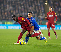 26th December 2019; King Power Stadium, Leicester, Midlands, England; English Premier League Football, Leicester City versus Liverpool; Naby Keita of Liverpool with the ball at his feet holding off Youri Tielemans of Leicester City  - Strictly Editorial Use Only. No use with unauthorized audio, video, data, fixture lists, club/league logos or 'live' services. Online in-match use limited to 120 images, no video emulation. No use in betting, games or single club/league/player publications