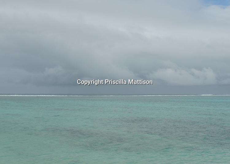 Grey clouds gather over the lagoon in Raratonga.