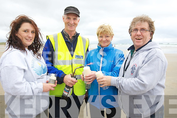 BLOWTORCH: Jame McLoughlin tries to light the Celebration of Light Candles by blowtorch on Friday evening as the breeze was so stronga match would do, l-r: Niki Sheehan, James McLoughlin, Theresa and Dan O'Donoghue.