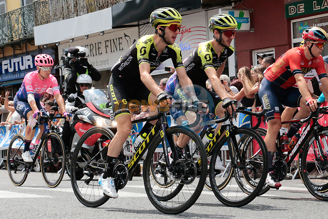 The Yates brothers Simon and Adam (GBR) Mitchelton-Scott at the neutralized start of Stage 14 of the 2019 Tour de France running 117.5km from Tarbes to Tourmalet Bareges, France. 20th July 2019.<br /> Picture: Colin Flockton | Cyclefile<br /> All photos usage must carry mandatory copyright credit (© Cyclefile | Colin Flockton)