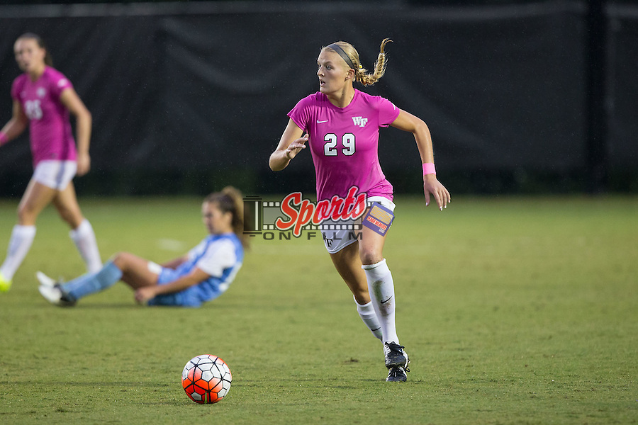 Kate Ravenna (29) of the Wake Forest Demon Deacons controls the ball during second half action against the North Carolina Tar Heels at Spry Soccer Stadium on September 27, 2015 in Winston-Salem, North Carolina.  The Tar Heels defeated the Demon Deacons 1-0.  (Brian Westerholt/Sports On Film)
