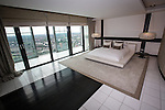 © Joel Goodman - 07973 332324 . 24 June 2013 . Orchid Suite , Beetham Tower , Manchester , UK . Master bedroom . Former triplex apartment home of Phil and Julie Neville , which is up for rent and thought to be the most expensive in Manchester . Photo credit : Joel Goodman