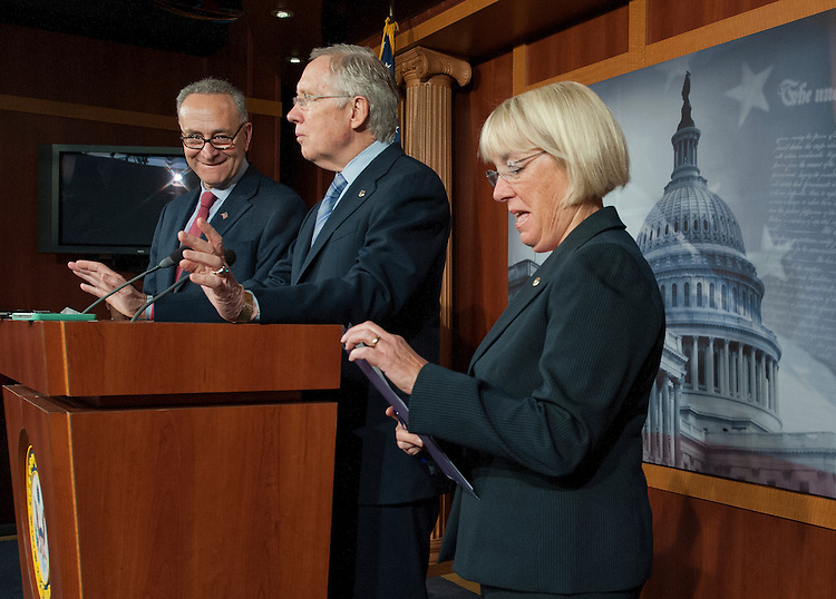 UNITED STATES -Sept 19: Sen. Charles Schumer, D-N.Y.,; Senate Majority Leader Harry Reid, D-Nev., and Sen. Patty Murray, D-Wash., hold a news conference on the continuing resolution. (Photo By Douglas Graham/CQ Roll Call)